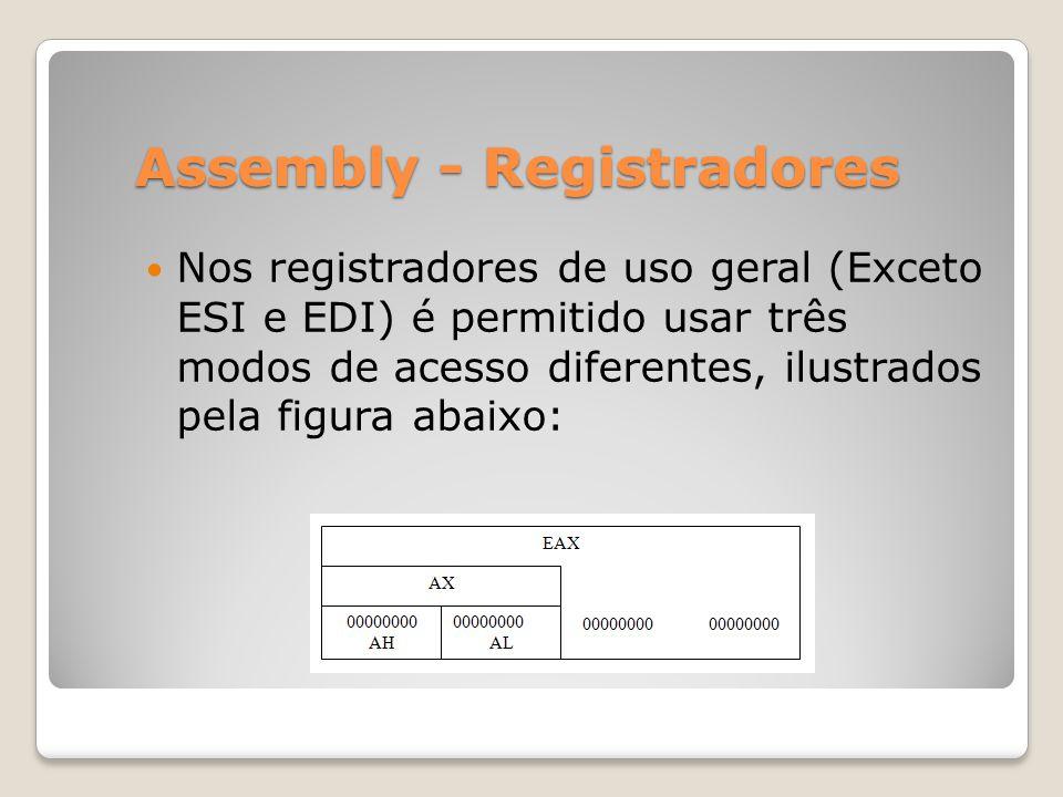 Assembly - Registradores Nos registradores de uso geral (Exceto ESI e EDI) é permitido usar três modos de acesso diferentes, ilustrados pela figura abaixo: