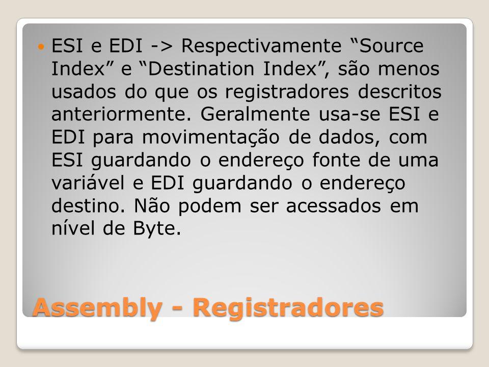 Assembly - Registradores ESI e EDI -> Respectivamente Source Index e Destination Index , são menos usados do que os registradores descritos anteriormente.