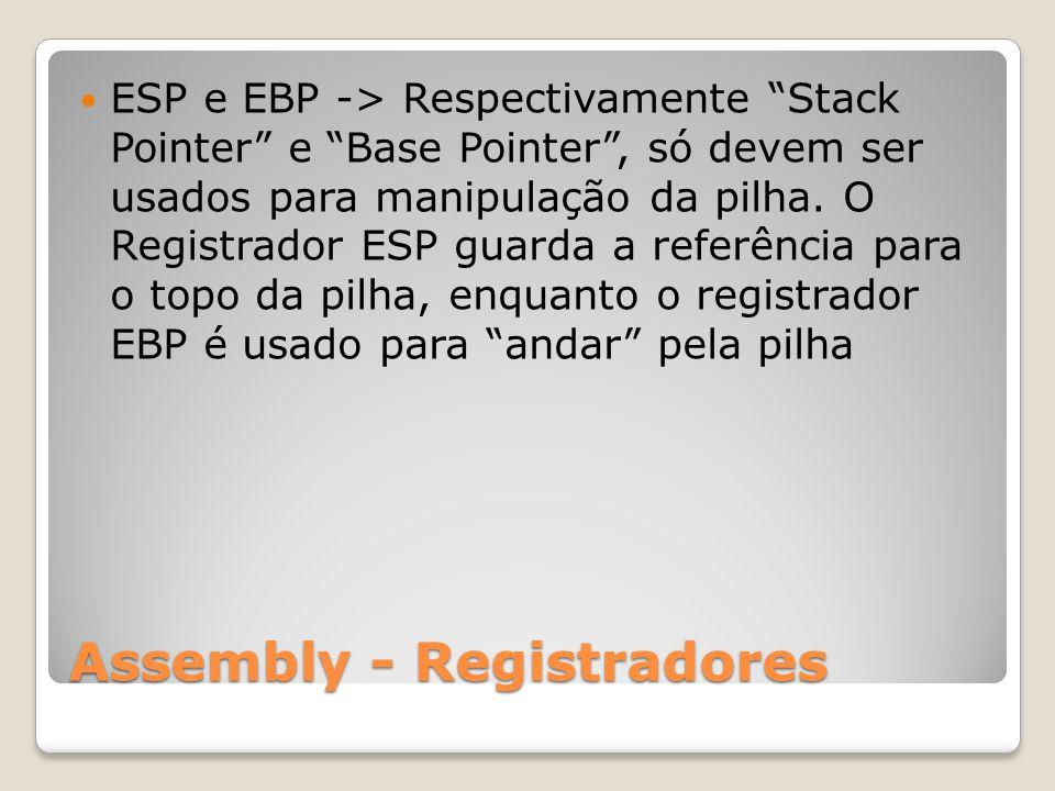 Assembly - Registradores ESP e EBP -> Respectivamente Stack Pointer e Base Pointer , só devem ser usados para manipulação da pilha.
