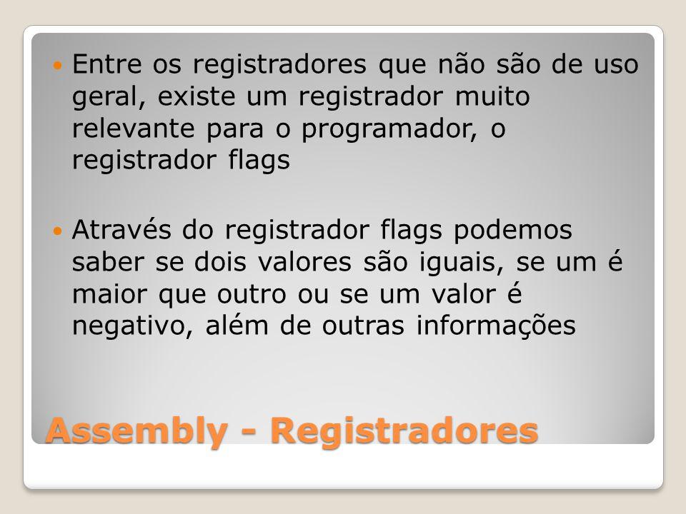 Assembly - Registradores Entre os registradores que não são de uso geral, existe um registrador muito relevante para o programador, o registrador flags Através do registrador flags podemos saber se dois valores são iguais, se um é maior que outro ou se um valor é negativo, além de outras informações