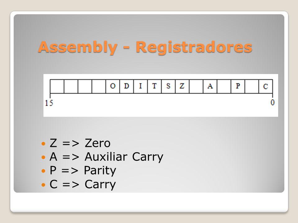 Assembly - Registradores Z => Zero A => Auxiliar Carry P => Parity C => Carry