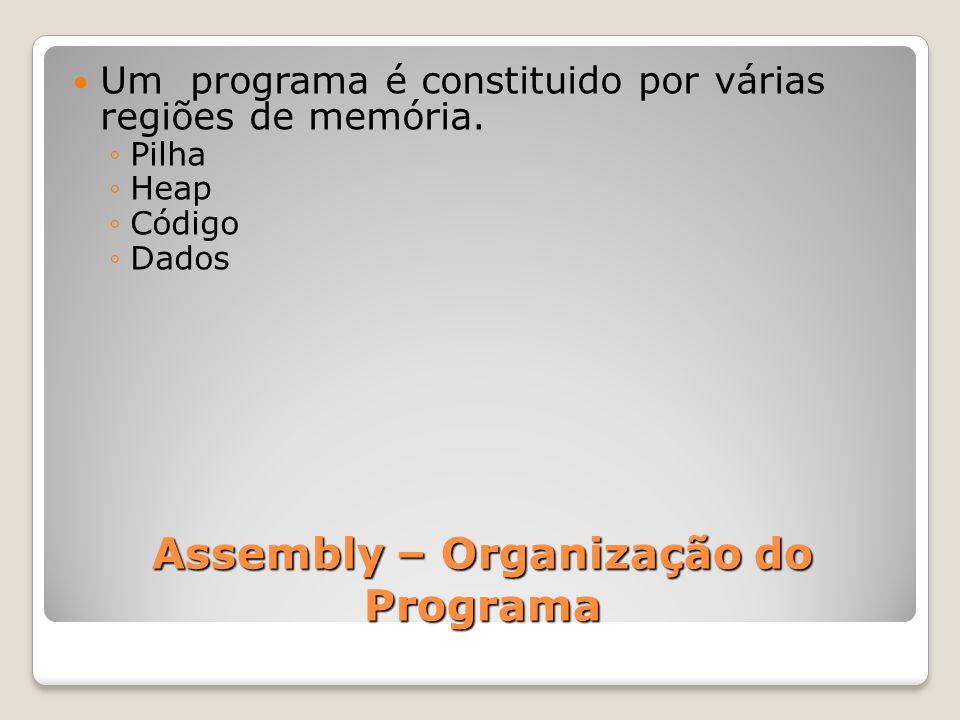 Assembly – Organização do Programa Um programa é constituido por várias regiões de memória.