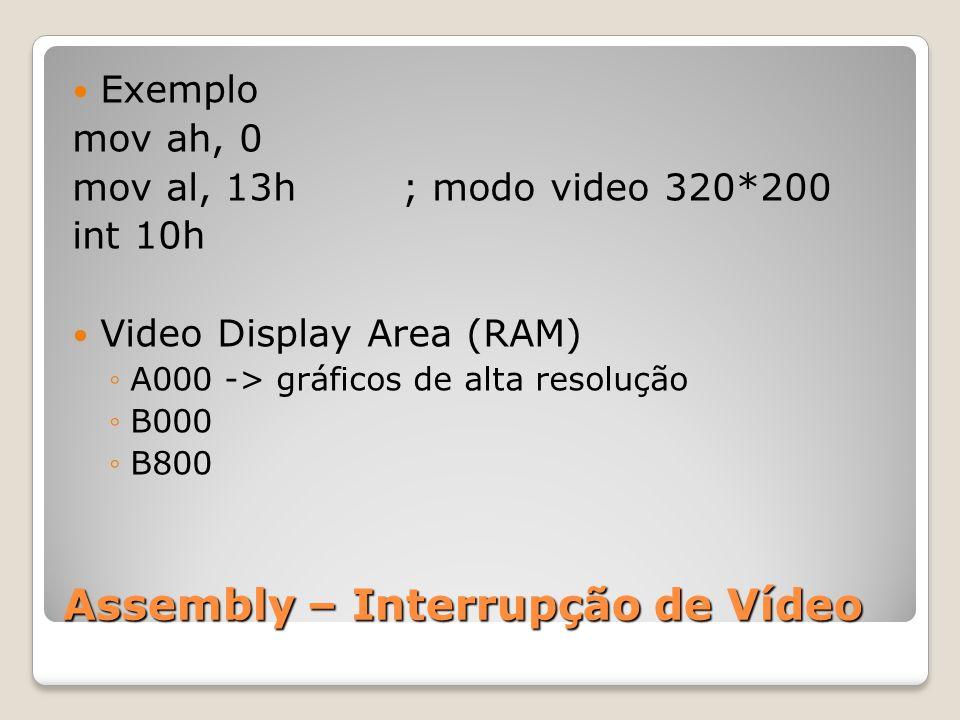 Assembly – Interrupção de Vídeo Exemplo mov ah, 0 mov al, 13h ; modo video 320*200 int 10h Video Display Area (RAM) ◦A000 -> gráficos de alta resolução ◦B000 ◦B800