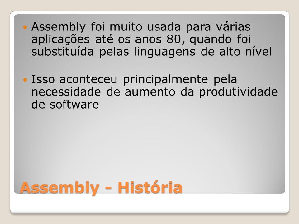 Assembly - História Assembly foi muito usada para várias aplicações até os anos 80, quando foi substituída pelas linguagens de alto nível Isso aconteceu principalmente pela necessidade de aumento da produtividade de software