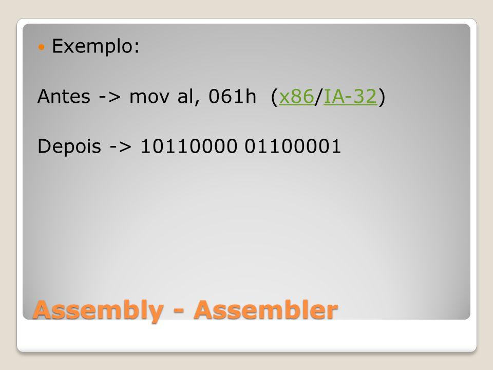 Assembly - Assembler Exemplo: Antes -> mov al, 061h (x86/IA-32)x86IA-32 Depois -> 10110000 01100001