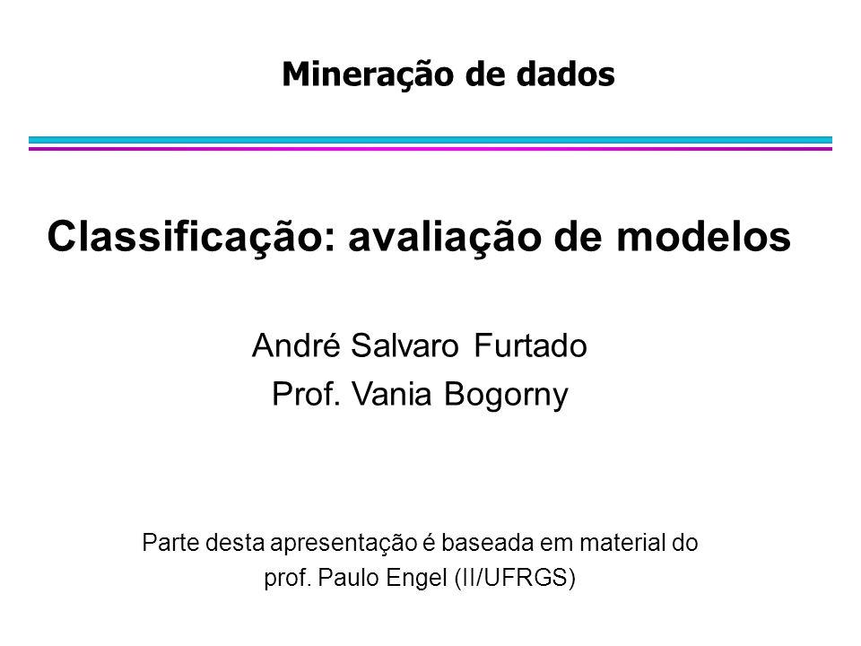 Mineração de dados Classificação: avaliação de modelos André Salvaro Furtado Prof. Vania Bogorny Parte desta apresentação é baseada em material do pro