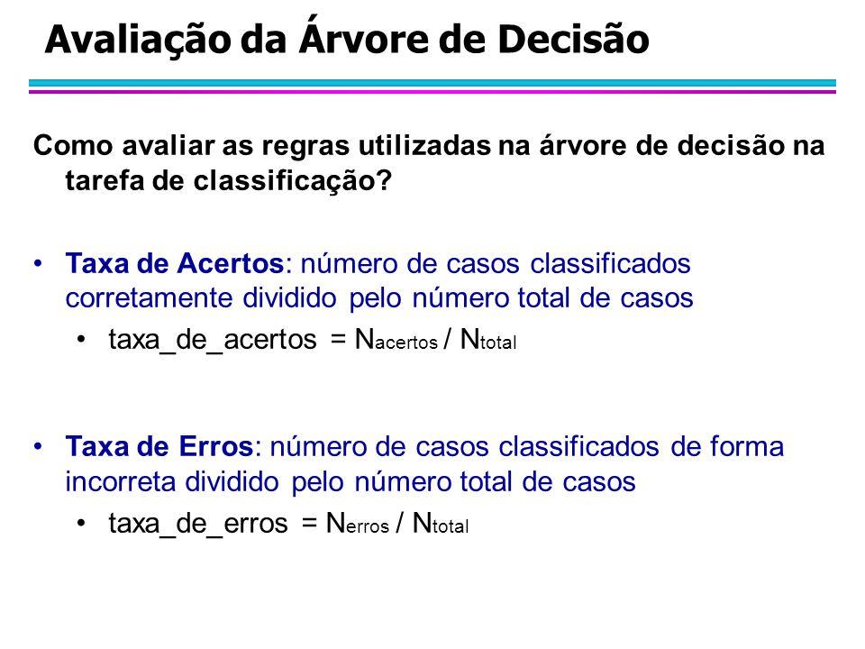 Avaliação da Árvore de Decisão Como avaliar as regras utilizadas na árvore de decisão na tarefa de classificação? Taxa de Acertos: número de casos cla
