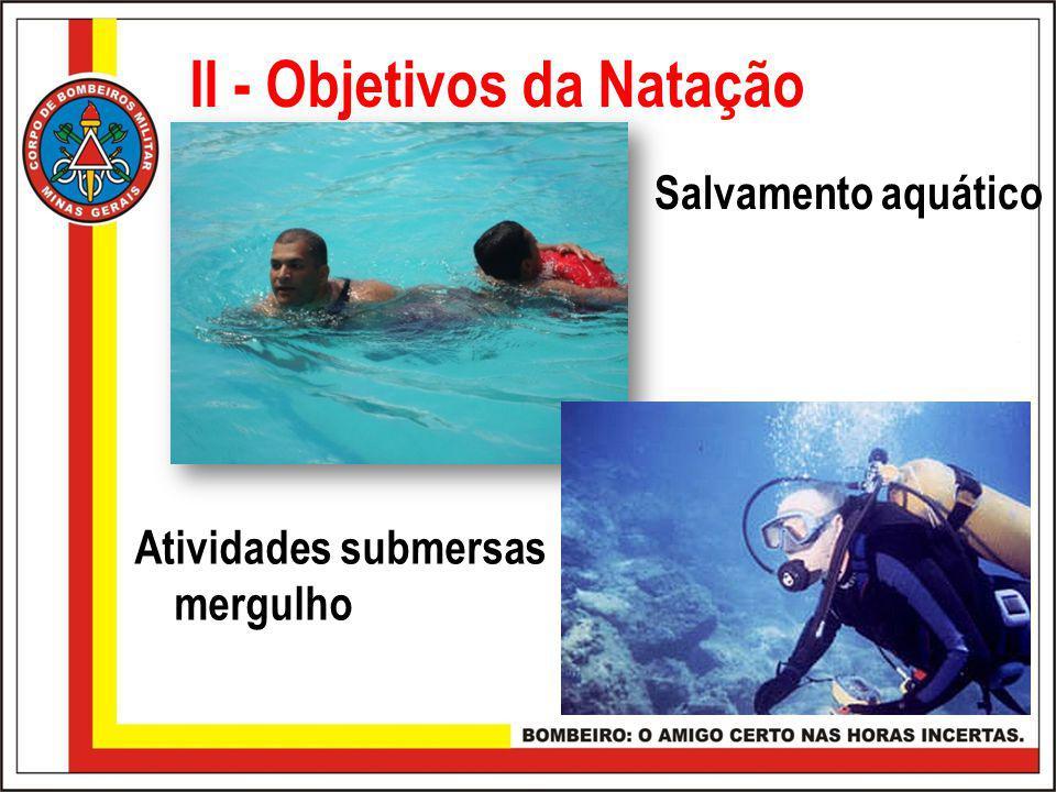 II - Objetivos da Natação Salvamento aquático Atividades submersas mergulho