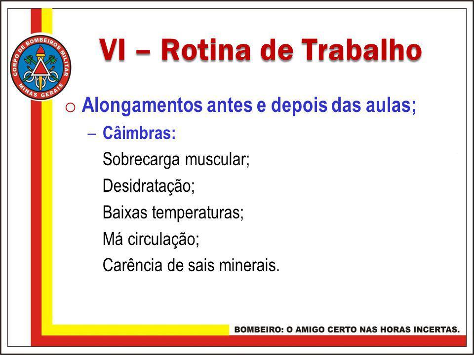 VI – Rotina de Trabalho VI – Rotina de Trabalho o Alongamentos antes e depois das aulas; – Câimbras: Sobrecarga muscular; Desidratação; Baixas tempera