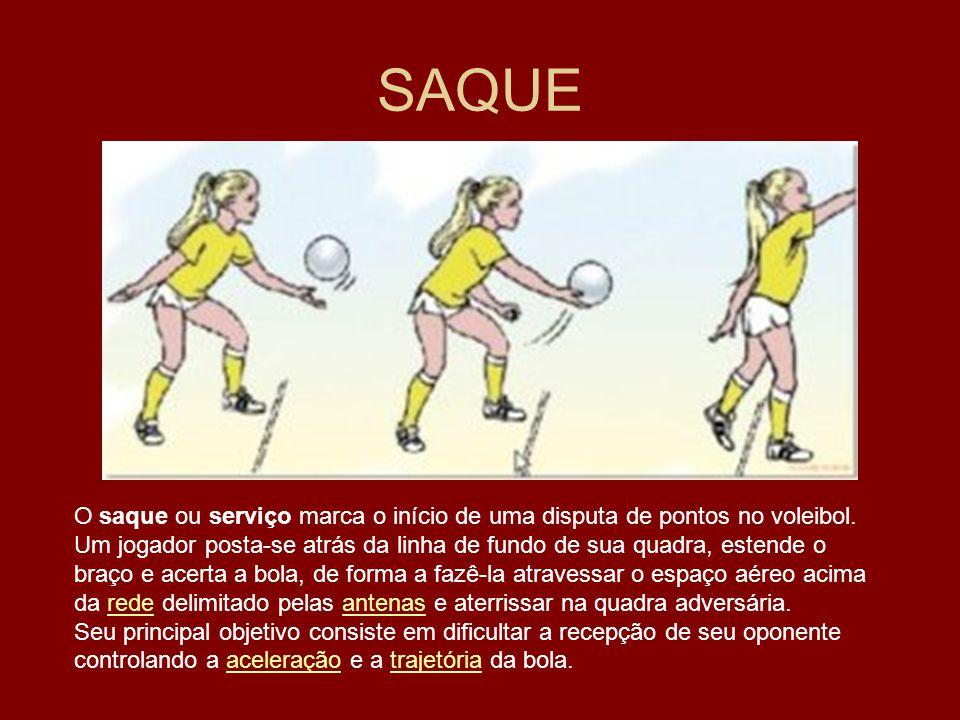 SAQUE O saque ou serviço marca o início de uma disputa de pontos no voleibol. Um jogador posta-se atrás da linha de fundo de sua quadra, estende o bra