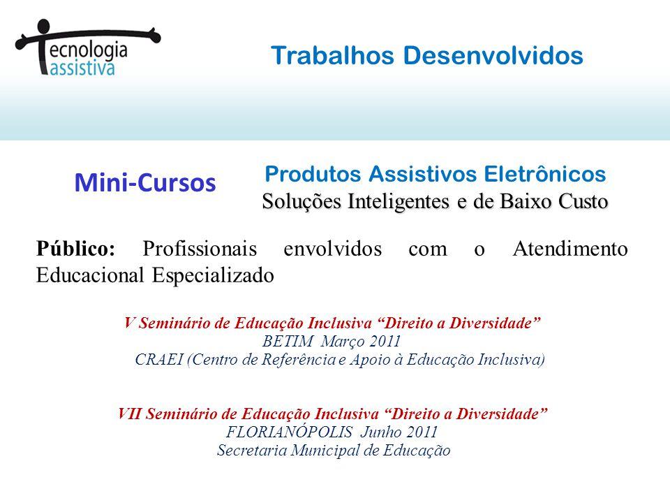 Objetivos: Apresentar a potencialidade do uso da Tecnologia Eletrônica para a criação de Produtos Assistivos que promovam a acessibilidade de pessoas deficientes ou incapazes.