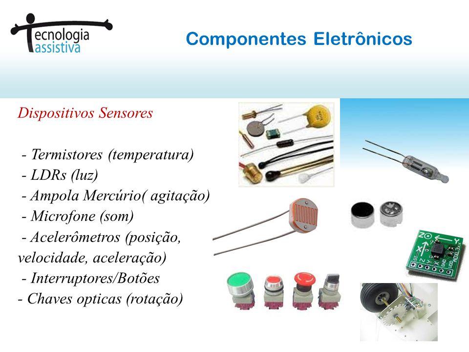 Dispositivos Sinalizadores e Atuadores - Leds (indicação luminosa) - Sirenes (som) - Motor Vibracall( vibração) - Relê (acionamento elétrico) Componentes Eletrônicos