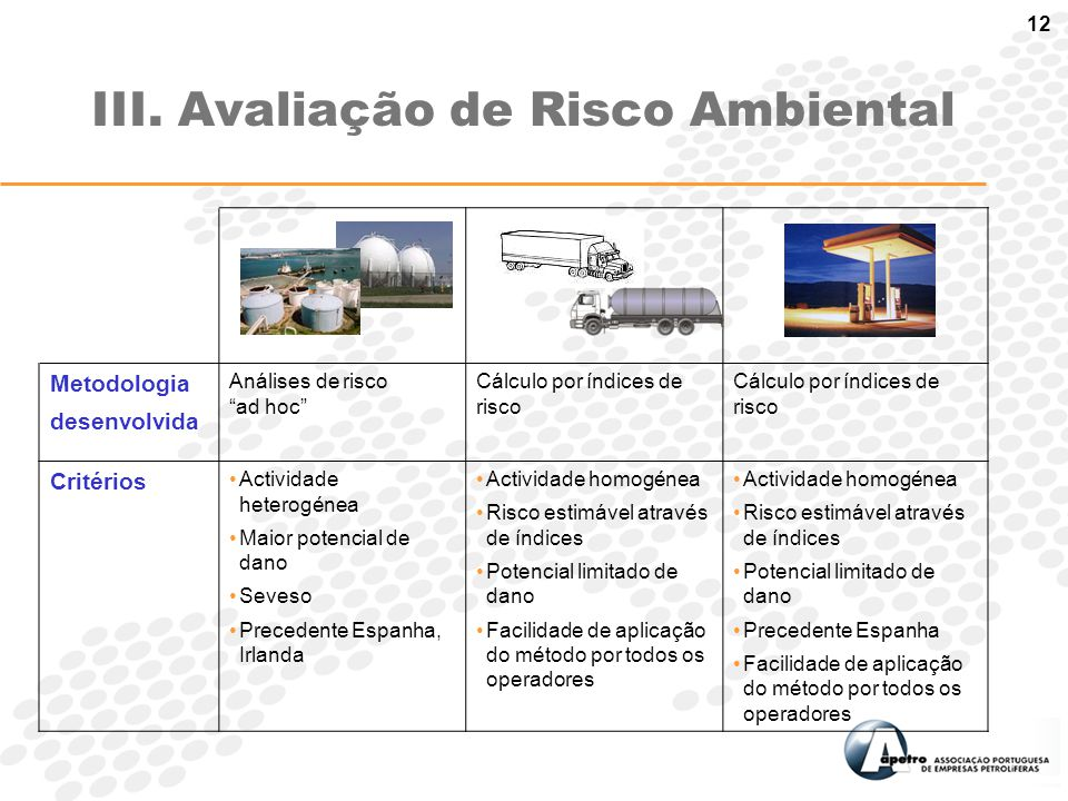 "12 III. Avaliação de Risco Ambiental Metodologia desenvolvida Análises de risco ""ad hoc"" Cálculo por índices de risco Critérios Actividade heterogénea"
