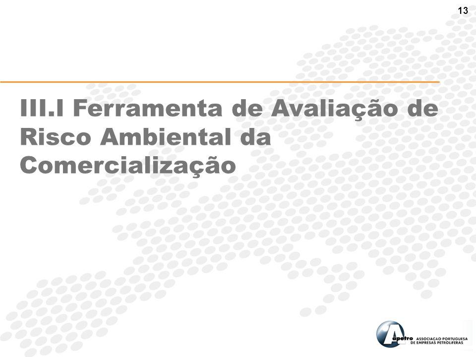 13 III.I Ferramenta de Avaliação de Risco Ambiental da Comercialização