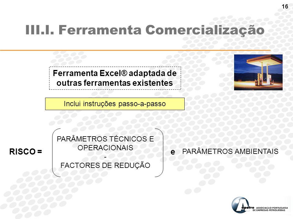 16 III.I. Ferramenta Comercialização Inclui instruções passo-a-passo Ferramenta Excel® adaptada de outras ferramentas existentes RISCO = PARÂMETROS TÉ