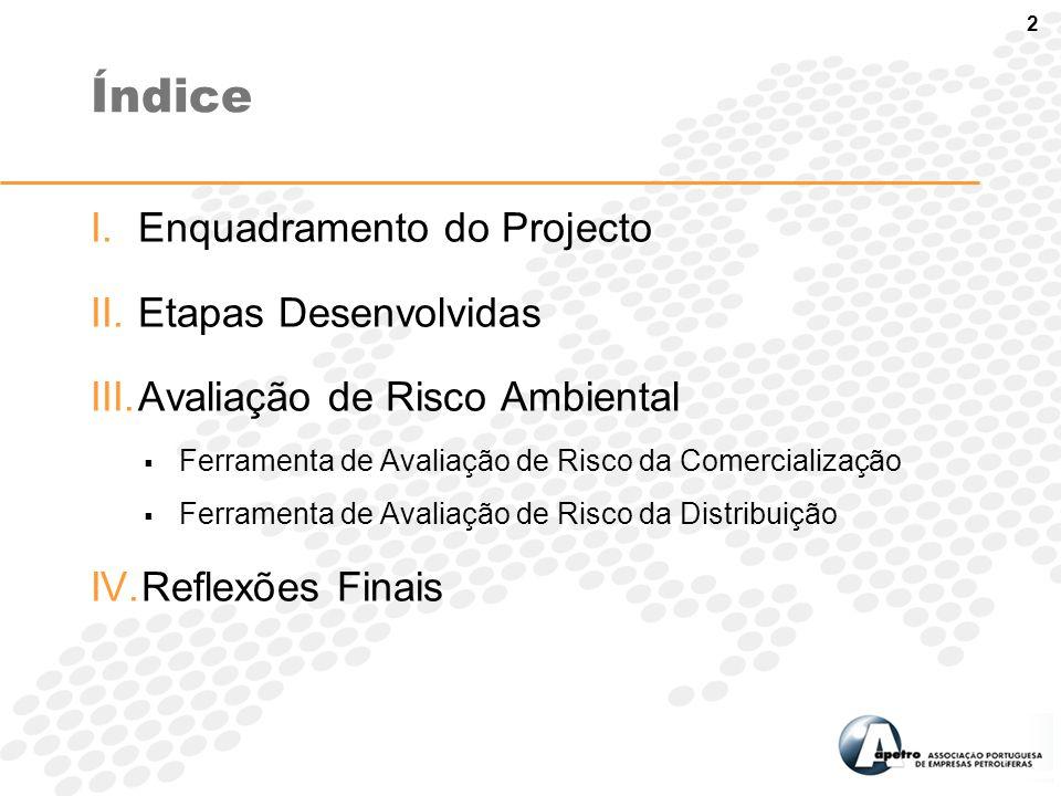 2 I.Enquadramento do Projecto II.Etapas Desenvolvidas III.Avaliação de Risco Ambiental  Ferramenta de Avaliação de Risco da Comercialização  Ferrame