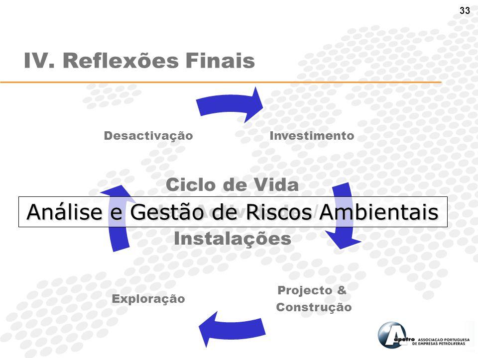 33 IV. Reflexões Finais Ciclo de Vida das Actividades/ Instalações Análise e Gestão de Riscos Ambientais