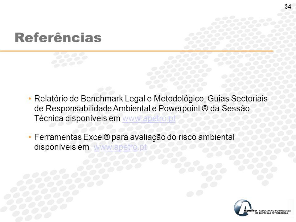 34 Relatório de Benchmark Legal e Metodológico, Guias Sectoriais de Responsabilidade Ambiental e Powerpoint ® da Sessão Técnica disponíveis em www.ape