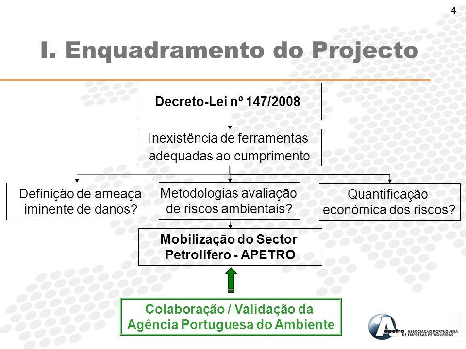 4 Decreto-Lei nº 147/2008 Colaboração / Validação da Agência Portuguesa do Ambiente Mobilização do Sector Petrolífero - APETRO Metodologias avaliação