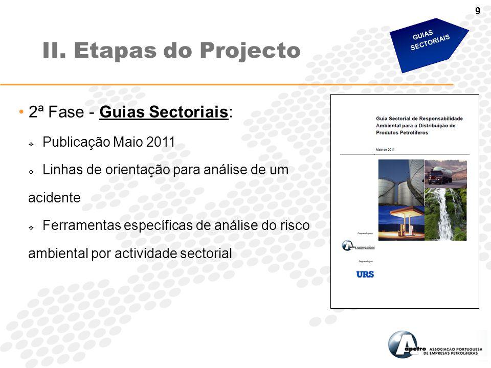 9 2ª Fase - Guias Sectoriais:  Publicação Maio 2011  Linhas de orientação para análise de um acidente  Ferramentas específicas de análise do risco