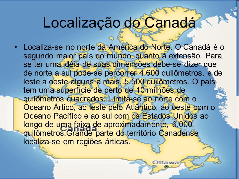 Formação do Canadá A colonização do Canadá teve início no século XVII, quando o francês Samuel Champlain fundou em 1608, a cidade de Quebec, às margens do rio São Lourenço.