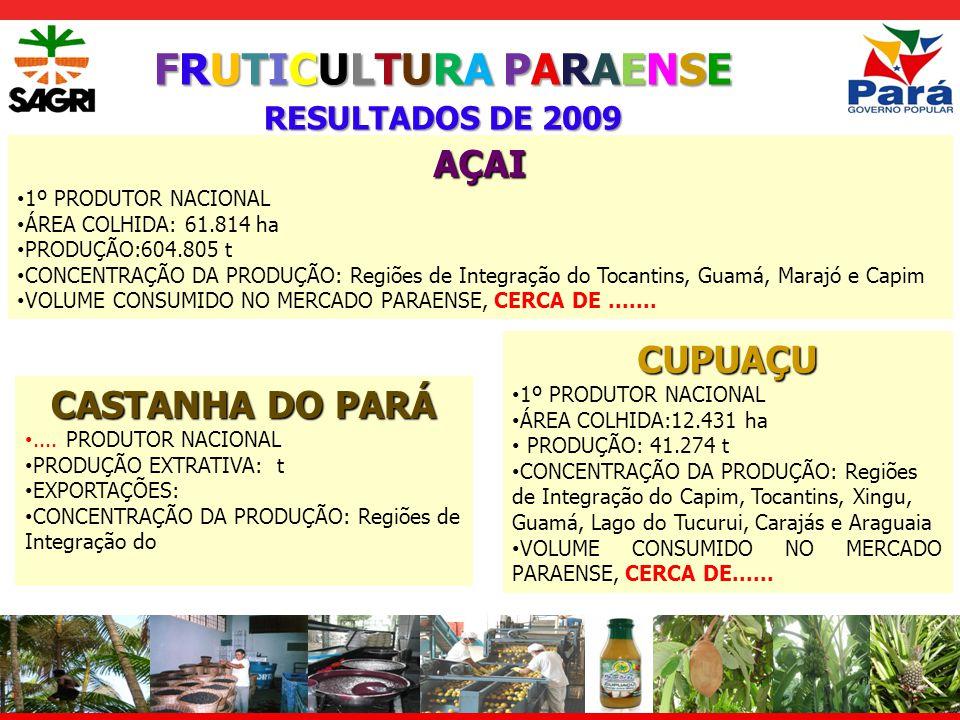 FRUTICULTURA PARAENSE RESULTADOS DE 2009 ABACAXI 3º PRODUTOR NACIONAL ÁREA COLHIDA: 9.963 ha PRODUÇÃO: 240.693 t VARIEDADE PRODUZIDA: PEROLA CONCENTRAÇÃO DA PRODUÇÃO: Regiões de Integração do Araguaia, Marajó e Carajás BANANA 5º PRODUTOR NACIONAL ÁREA COLHIDA: 38.985 ha PRODUÇÃO:503.958 t VARIEDADES PRODUZIDAS: PRATA, MAÇA CONCENTRAÇÃO DA PRODUÇÃO: Regiões de Integração do Xingu, Tapajós, Lago do Tucurui, Carajás e Baixo Amazonas LARANJA 7º PRODUTOR NACIONAL ÁREA COLHIDA: 12.215ha PRODUÇÃO: 204.063t CONCENTRAÇÃO DA PRODUÇÃO: Regiões de Integração do Capim, Baixo Amazonas, Caetés e Tapajós