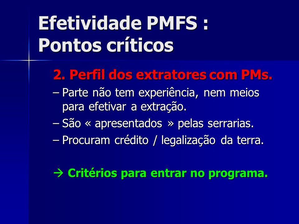 Efetividade PMFS : Pontos críticos 2. Perfil dos extratores com PMs. –Parte não tem experiência, nem meios para efetivar a extração. –São « apresentad