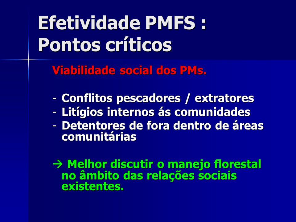 Efetividade PMFS : Pontos críticos Viabilidade social dos PMs. -Conflitos pescadores / extratores -Litígios internos ás comunidades -Detentores de for