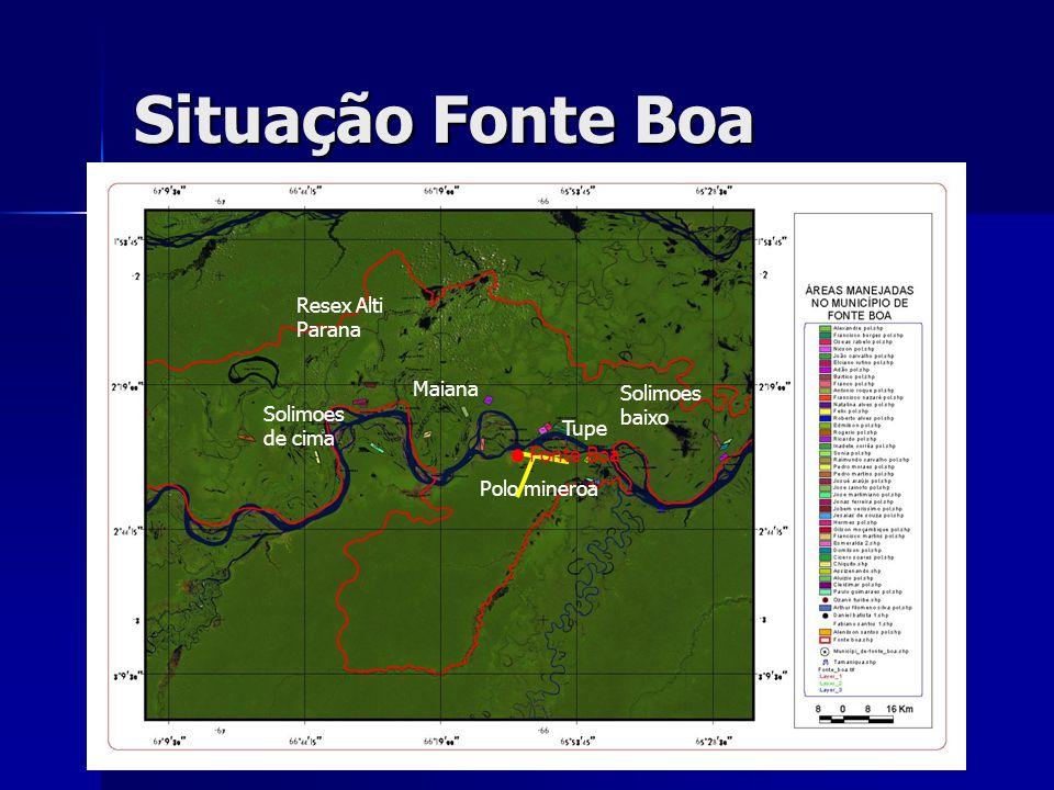 Situação Fonte Boa Solimoes de cima Maiana Resex Alti Parana Solimoes baixo Polo mineroa Fonte Boa Tupe