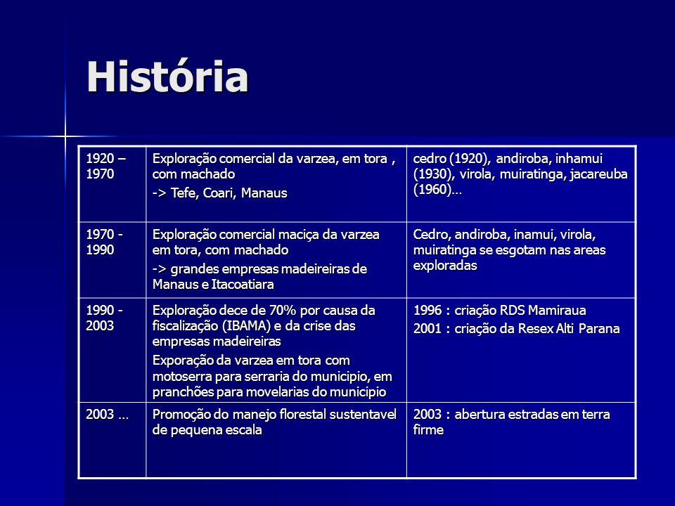 História 1920 – 1970 Exploração comercial da varzea, em tora, com machado -> Tefe, Coari, Manaus cedro (1920), andiroba, inhamui (1930), virola, muira
