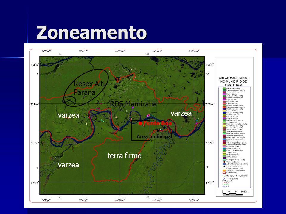 Zoneamento varzea terra firme Fonte Boa Resex Alti Parana RDS,Mamiraua Area municipal