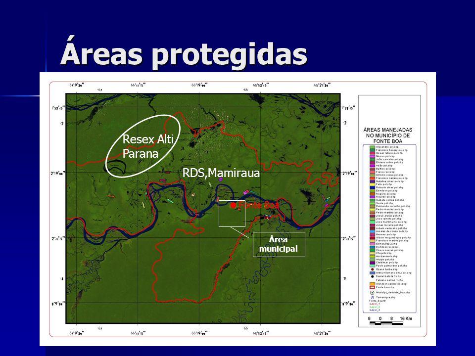 Áreas protegidas RDS,Mamiraua Resex Alti Parana Fonte Boa Área municipal