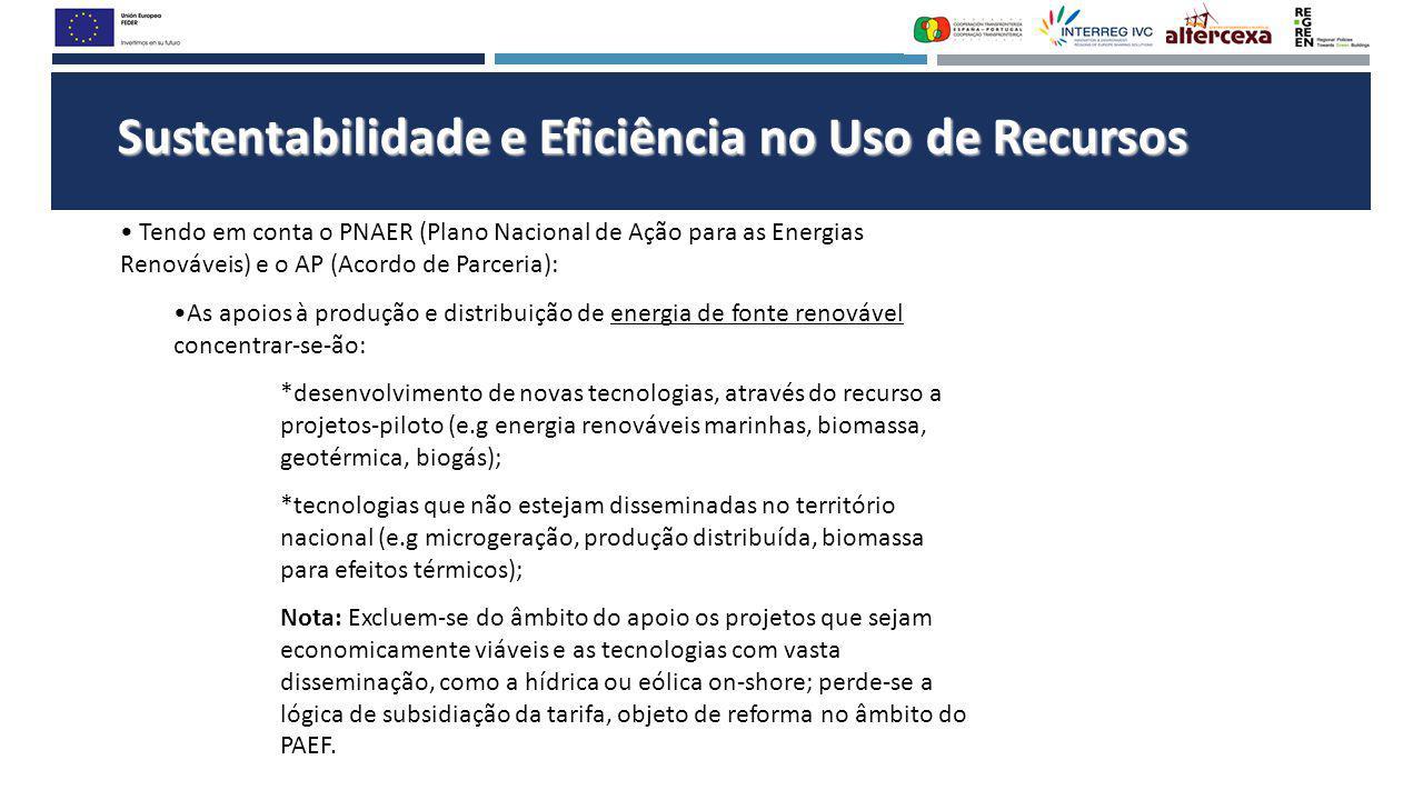 Sustentabilidade e Eficiência no Uso de Recursos Tendo em conta o PNAER (Plano Nacional de Ação para as Energias Renováveis) e o AP (Acordo de Parceri