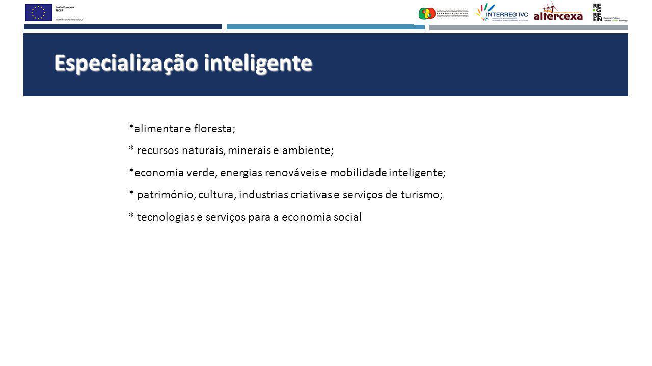 Especialização inteligente *alimentar e floresta; * recursos naturais, minerais e ambiente; *economia verde, energias renováveis e mobilidade intelige