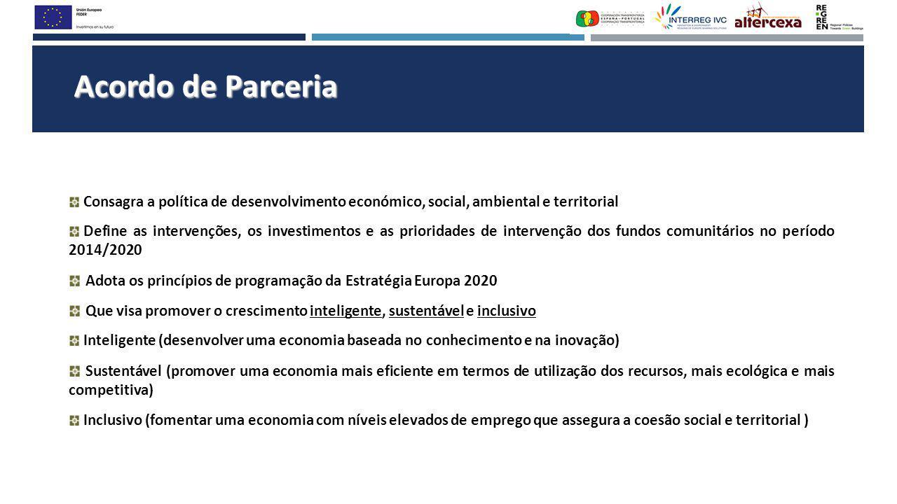 Acordo de Parceria Consagra a política de desenvolvimento económico, social, ambiental e territorial Define as intervenções, os investimentos e as pri