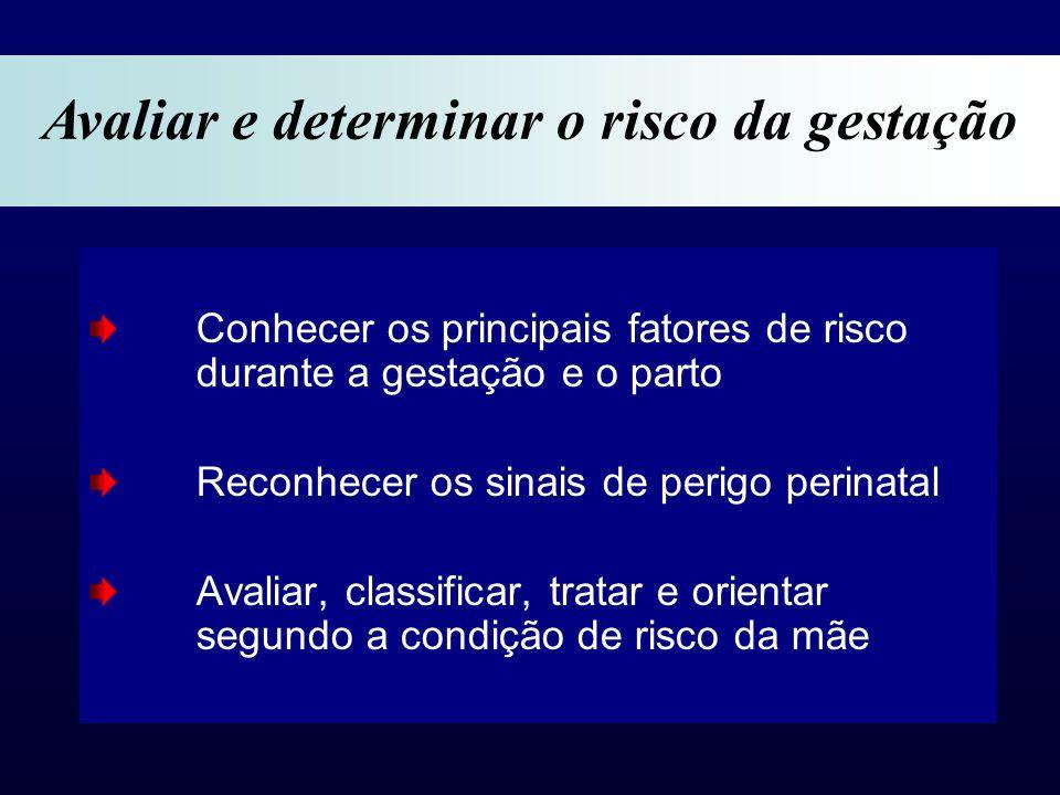 Conhecer os principais fatores de risco durante a gestação e o parto Reconhecer os sinais de perigo perinatal Avaliar, classificar, tratar e orientar segundo a condição de risco da mãe Avaliar e determinar o risco da gestação