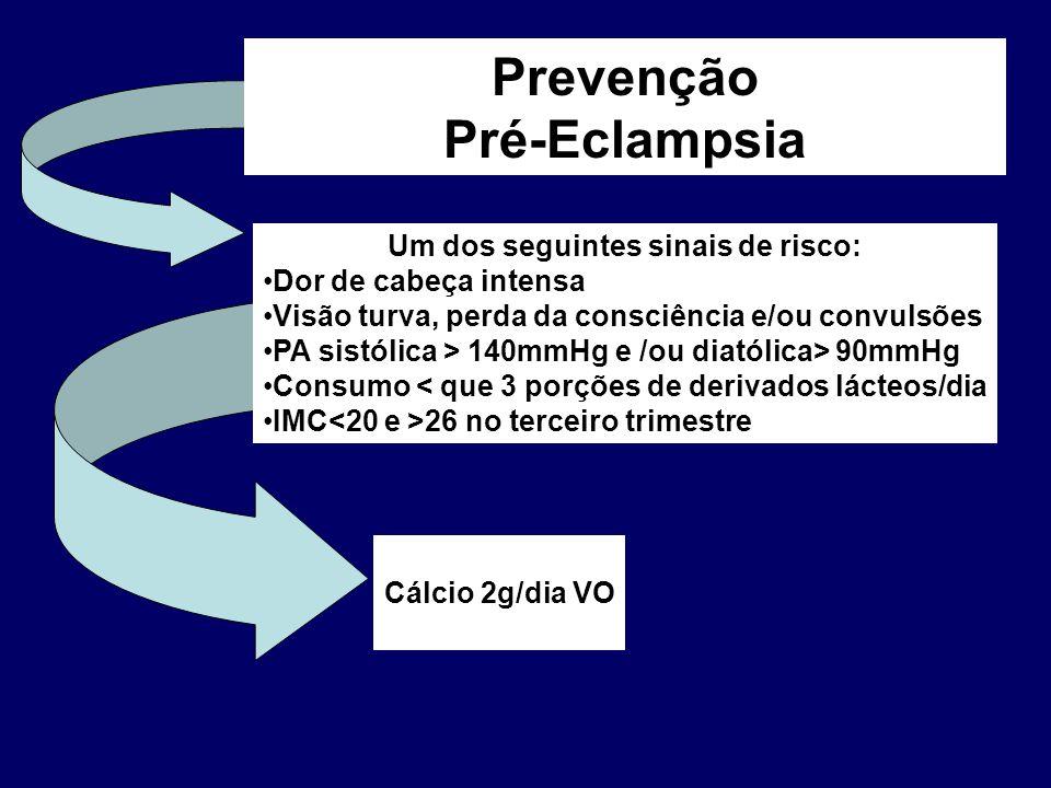 Cálcio 2g/dia VO Prevenção Pré-Eclampsia Um dos seguintes sinais de risco: Dor de cabeça intensa Visão turva, perda da consciência e/ou convulsões PA