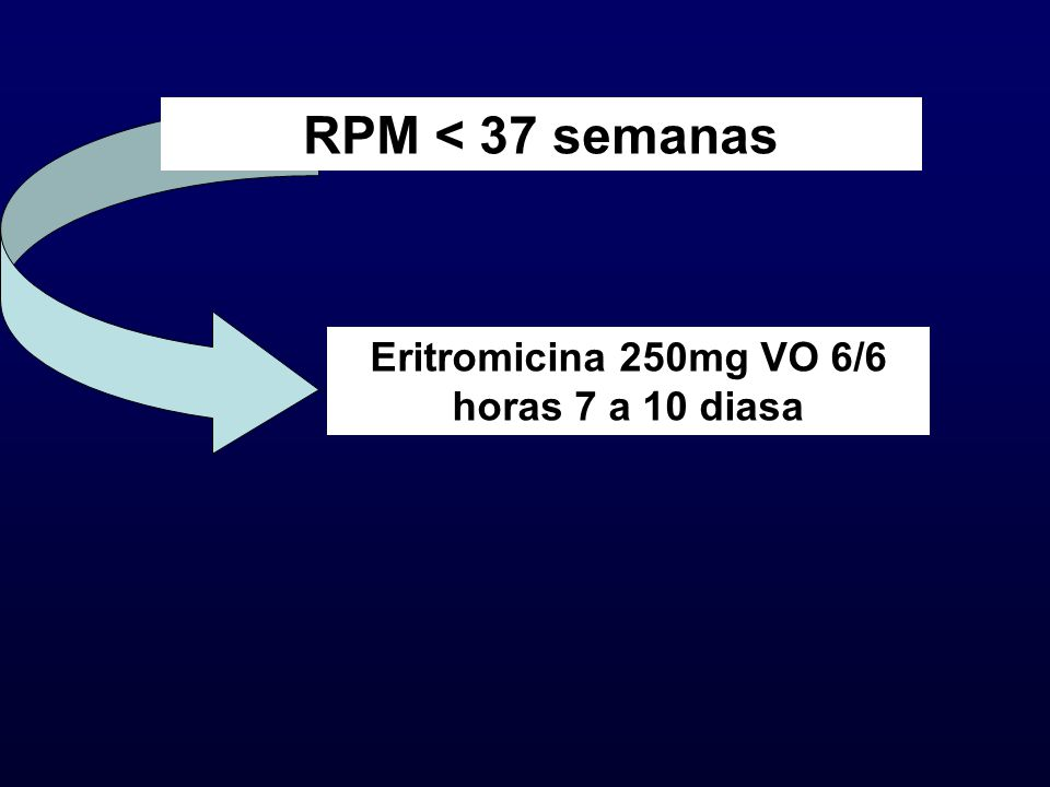 RPM < 37 semanas Eritromicina 250mg VO 6/6 horas 7 a 10 diasa