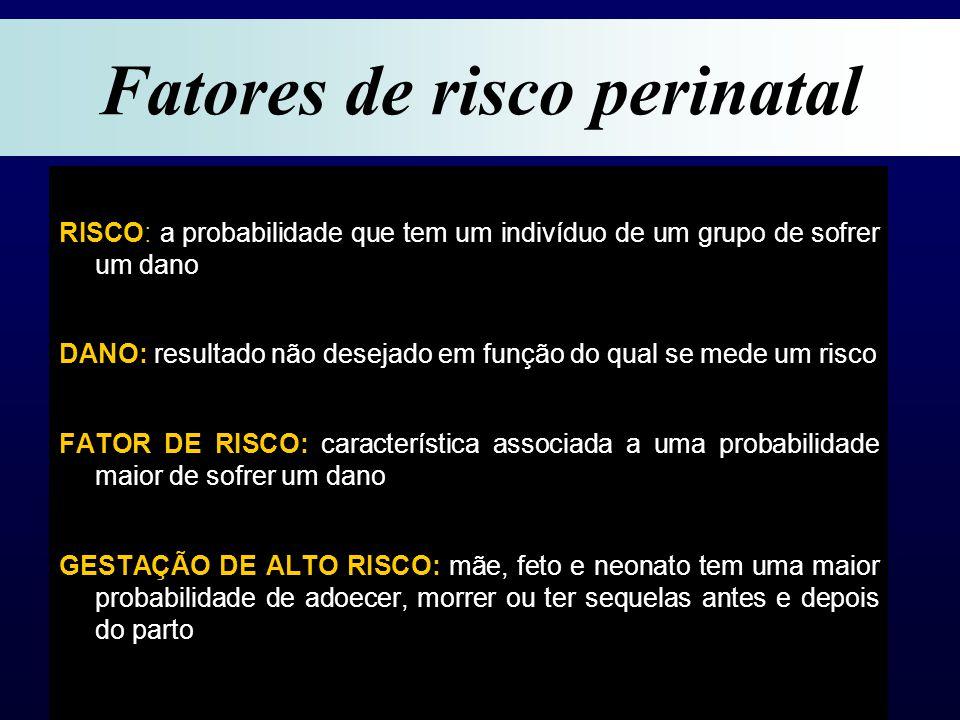 RISCO: a probabilidade que tem um indivíduo de um grupo de sofrer um dano DANO: resultado não desejado em função do qual se mede um risco FATOR DE RISCO: característica associada a uma probabilidade maior de sofrer um dano GESTAÇÃO DE ALTO RISCO: mãe, feto e neonato tem uma maior probabilidade de adoecer, morrer ou ter sequelas antes e depois do parto Fatores de risco perinatal