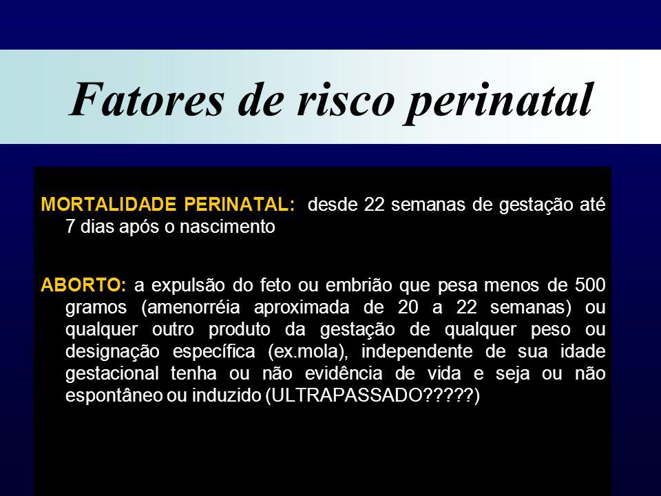 MORTALIDADE PERINATAL: desde 22 semanas de gestação até 7 dias após o nascimento ABORTO: a expulsão do feto ou embrião que pesa menos de 500 gramos (amenorréia aproximada de 20 a 22 semanas) ou qualquer outro produto da gestação de qualquer peso ou designação específica (ex.mola), independente de sua idade gestacional tenha ou não evidência de vida e seja ou não espontâneo ou induzido (ULTRAPASSADO?????) Fatores de risco perinatal