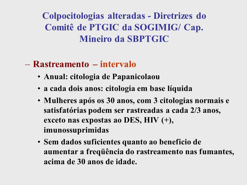 Colpocitologias alteradas - Diretrizes do Comitê de PTGIC da SOGIMIG/ Cap. Mineiro da SBPTGIC –Rastreamento – intervalo Anual: citologia de Papanicola