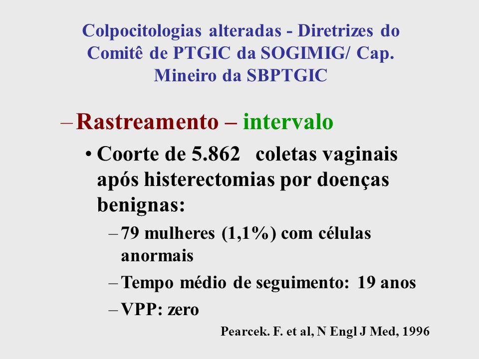 Colpocitologias alteradas - Diretrizes do Comitê de PTGIC da SOGIMIG/ Cap. Mineiro da SBPTGIC –Rastreamento – intervalo Coorte de 5.862 coletas vagina