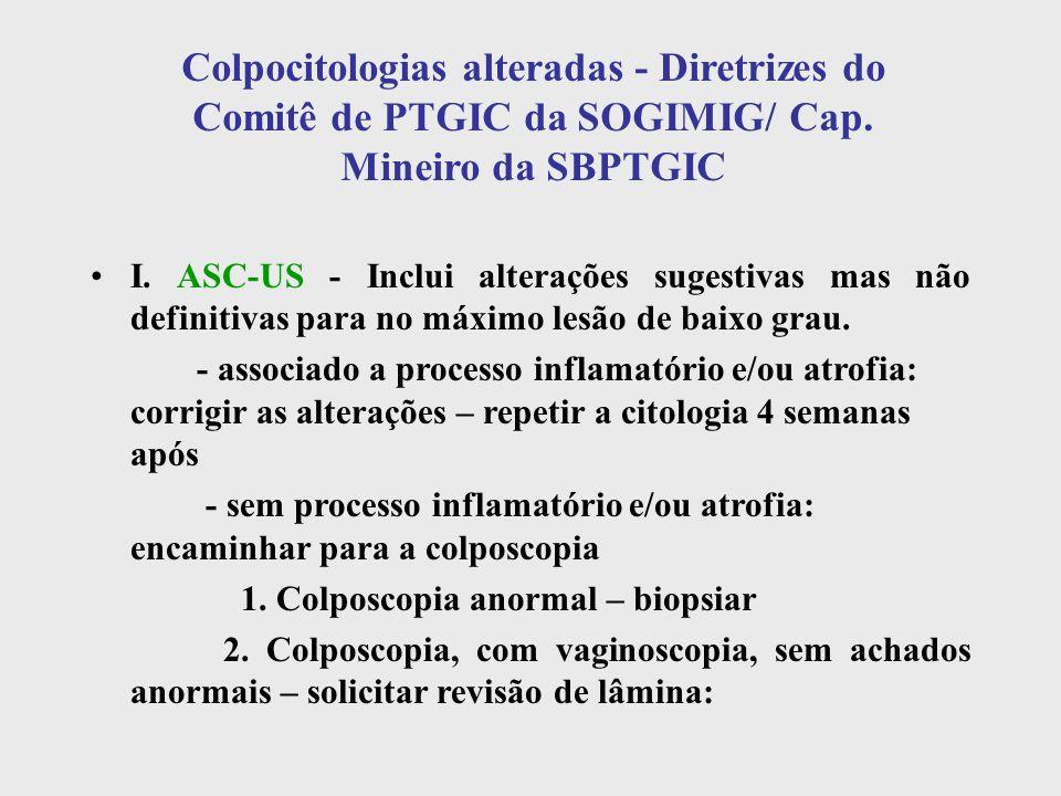 Colpocitologias alteradas - Diretrizes do Comitê de PTGIC da SOGIMIG/ Cap. Mineiro da SBPTGIC I. ASC-US - Inclui alterações sugestivas mas não definit