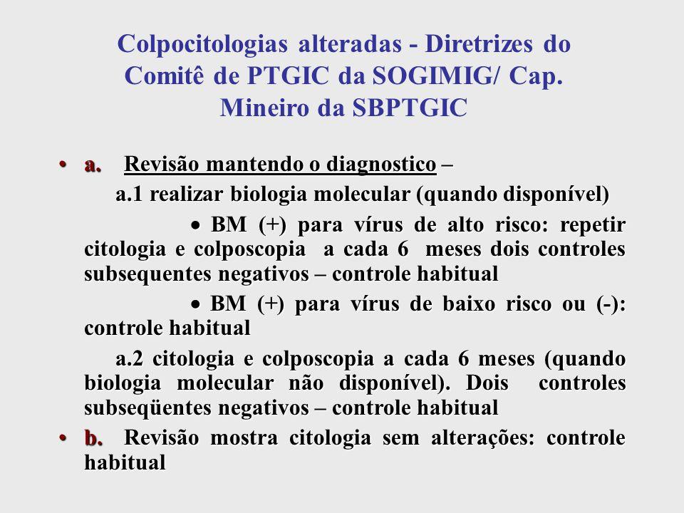 Colpocitologias alteradas - Diretrizes do Comitê de PTGIC da SOGIMIG/ Cap. Mineiro da SBPTGIC a. Revisão mantendo o diagnostico –a. Revisão mantendo o