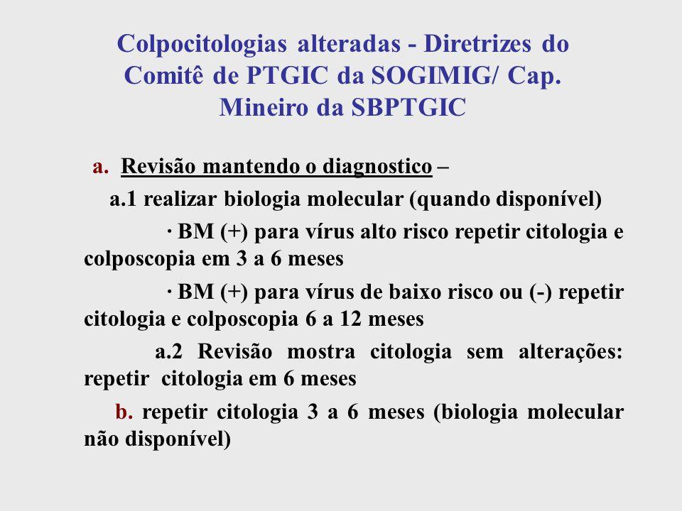Colpocitologias alteradas - Diretrizes do Comitê de PTGIC da SOGIMIG/ Cap. Mineiro da SBPTGIC a. Revisão mantendo o diagnostico – a.1 realizar biologi