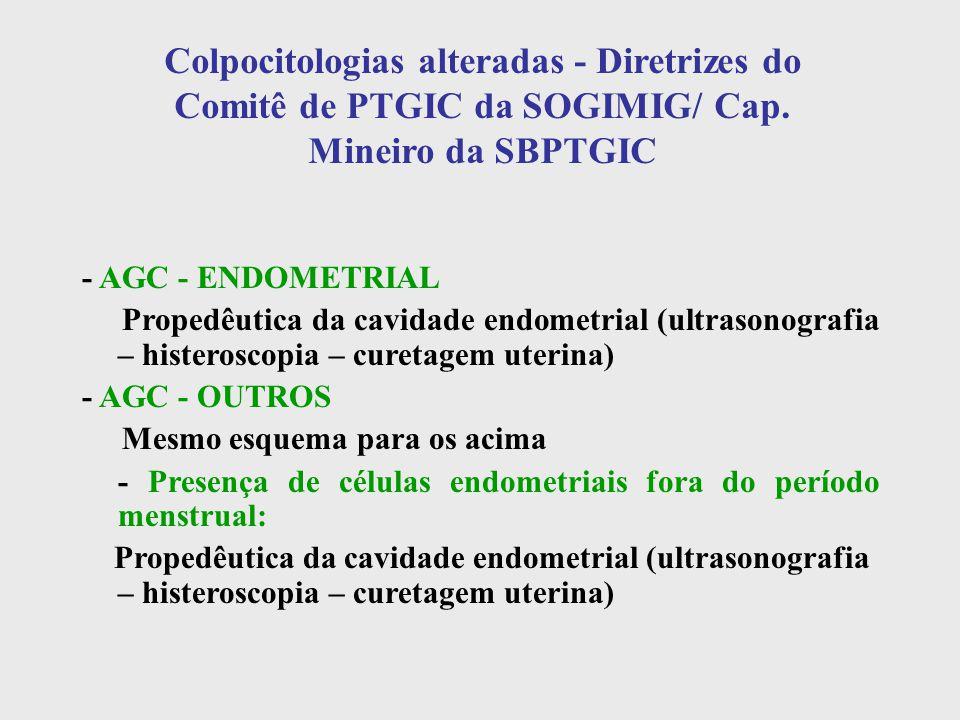 Colpocitologias alteradas - Diretrizes do Comitê de PTGIC da SOGIMIG/ Cap. Mineiro da SBPTGIC - AGC - ENDOMETRIAL Propedêutica da cavidade endometrial