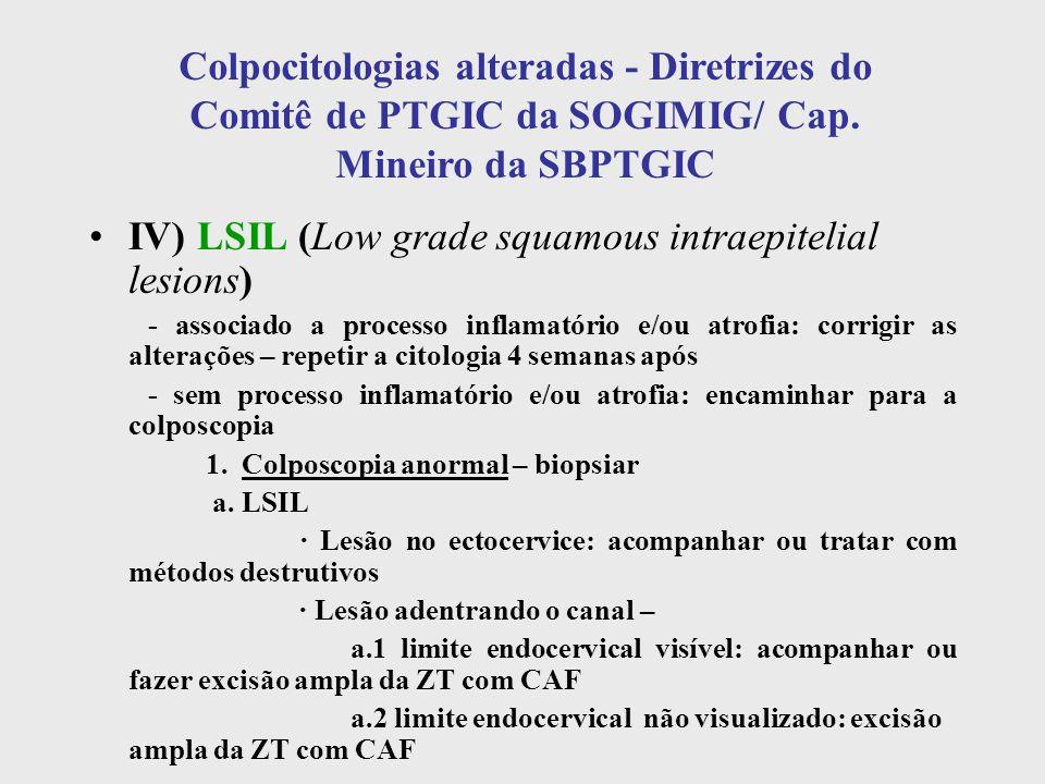 Colpocitologias alteradas - Diretrizes do Comitê de PTGIC da SOGIMIG/ Cap. Mineiro da SBPTGIC IV) LSIL (Low grade squamous intraepitelial lesions) - a