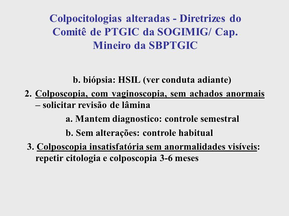 Colpocitologias alteradas - Diretrizes do Comitê de PTGIC da SOGIMIG/ Cap. Mineiro da SBPTGIC b. biópsia: HSIL (ver conduta adiante) b. biópsia: HSIL