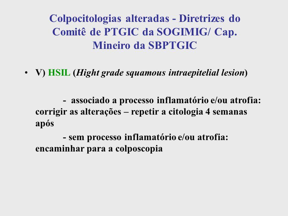 Colpocitologias alteradas - Diretrizes do Comitê de PTGIC da SOGIMIG/ Cap. Mineiro da SBPTGIC V) HSIL (Hight grade squamous intraepitelial lesion) - a