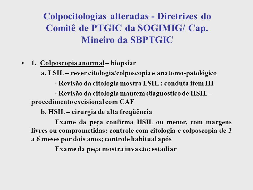 Colpocitologias alteradas - Diretrizes do Comitê de PTGIC da SOGIMIG/ Cap. Mineiro da SBPTGIC 1. Colposcopia anormal – biopsiar1. Colposcopia anormal